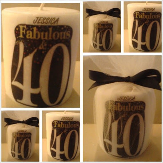 40th birthday candle favors birthday gift by SassyCandleFavors