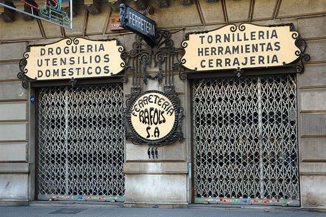 Modernist Hardware Store Front Door in Barcelona [enlarge]