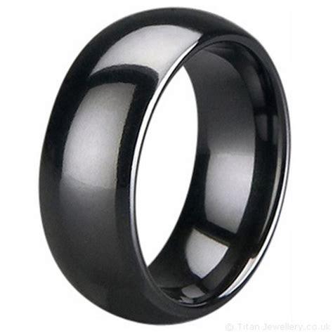 8mm Black Zirconia Ceramic Court Wedding Ring