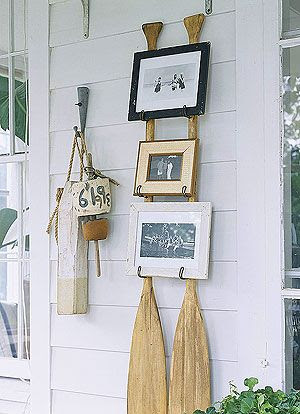 Oars as picture holders.
