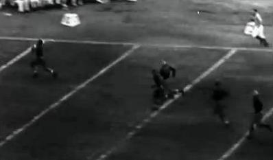Pittsburgh end Bill Daddio's 71 yard interception return touchdown against Washington in the 1937 Rose Bowl