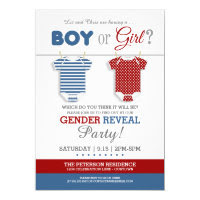 Cute Baby Clothes Gender Reveal Card