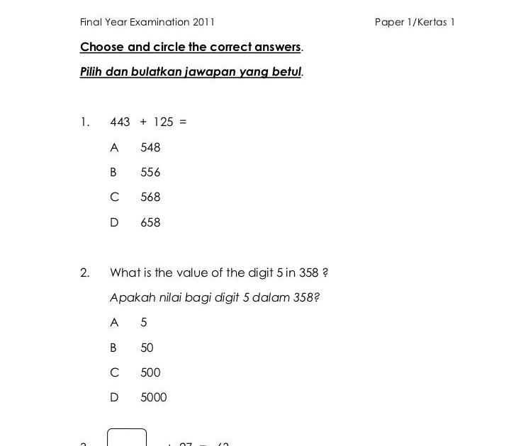 Contoh Soalan Matematik Tahun 3 Wang Soalan Bo