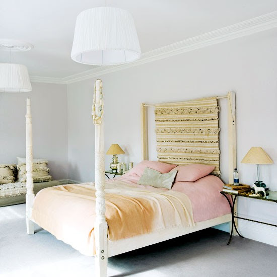 White master bedroom with four-poster bed | White bedroom