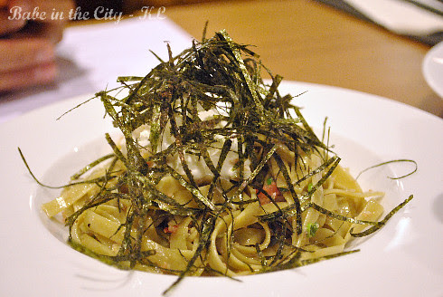 Spinach Fettucini with Mentaiko