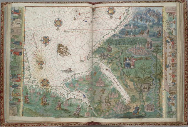 manuscript map of Arabian Sea, Red Sea, and Persian Gulf - Dieppe school, 16th c