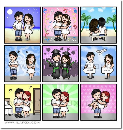Convite em tirinhas, convite personalizado, convite história casal, convite em quadrinhos, quadrinhos para casamento, by ila fox