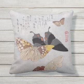 Vintage Butterfly Japanese Scroll Outdoor Pillow from Zazzle.com/lizardmarsh*
