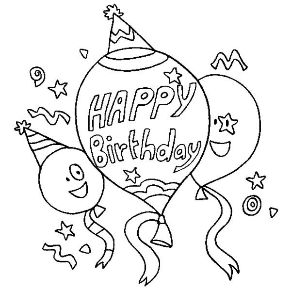 Happy Birthday Balloons Flying Coloring Pages | Best Place ...