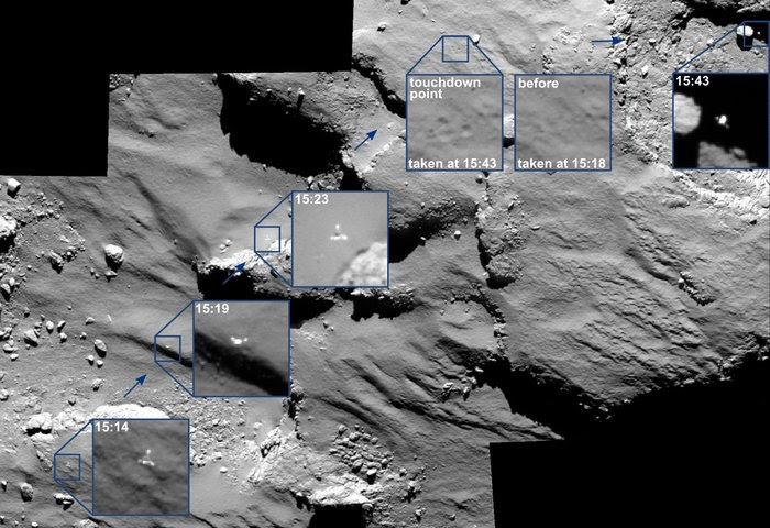 philae journey on the comets