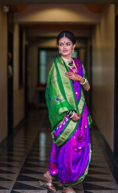 Traditional South Indian Green And Purple Kanjivaram Saree