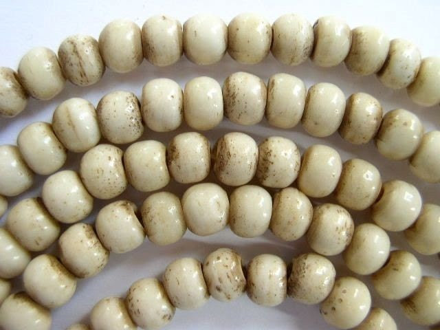 Antiqued White Bone Beads 6mm (B9016) - HappyMangoBeads