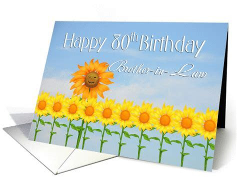 Brother in Law, 80th Birthday, Sunflowers card (1272656)