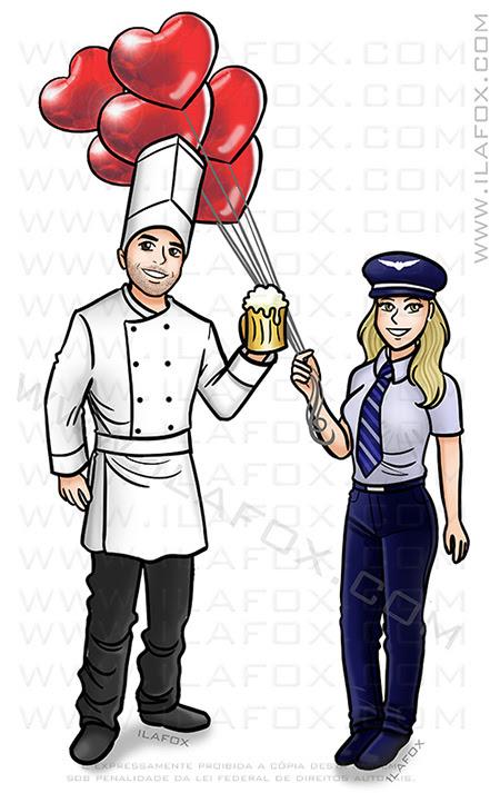 caricatura personalizada, caricatura profissão, caricatura casal, caricatura para casamento, caricatura chef, caricatura