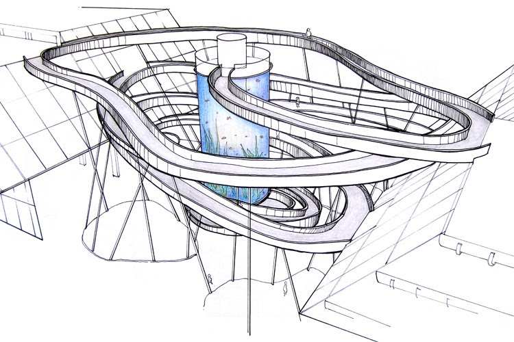 The spiral ramp sketch by Tony Hawk and Kelly Slater: prepare for some rad acid drops | Illustration: Sarah, Tina & Chen