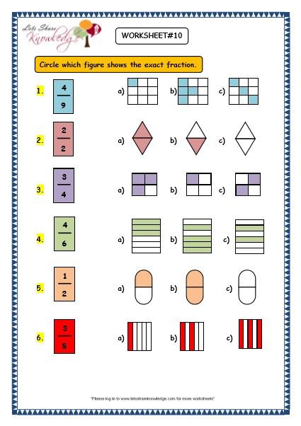 Grade 3 Maths Worksheets: (7.1 Fractions) - Lets Share ...
