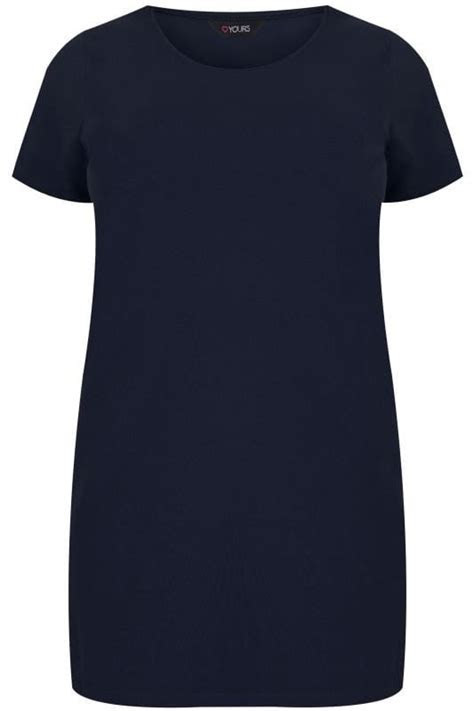 Navy Scoop Neck Longline Jersey T Shirt, plus size 16 to 36