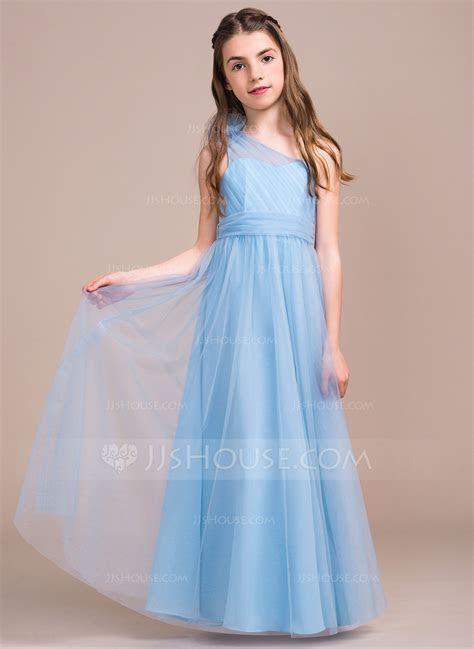 A Line/Princess One Shoulder Floor Length Tulle Junior