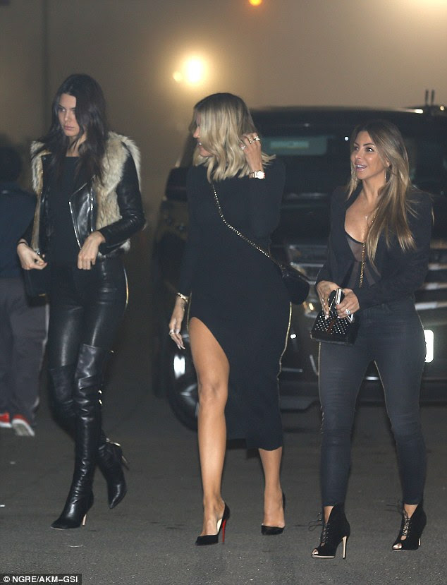 Girls' night: Khloe and Kendall were joined by another gal pal as Kylie, Kourtney and Kris attended with them