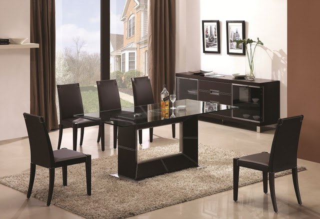 Sophisticated Rectangular Wooden and Clear Glass Top Leather