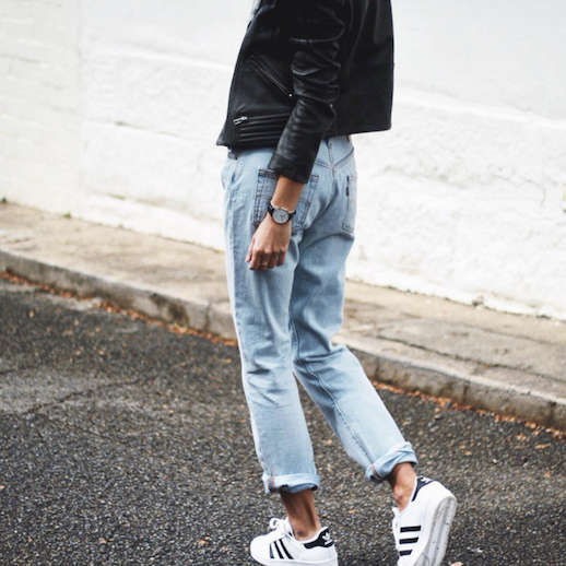 Le Fashion Blog 25 Ways To Wear Adidas Sneakers Leather Jacket Light Wash Cuffed Levis Jeans Superstar Via Andy Csinger