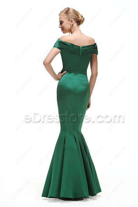 Emerald Green Off the Shoulder Mermaid Prom Dress Long