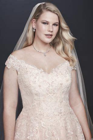 Off the Shoulder Applique Plus Size Wedding Dress   David