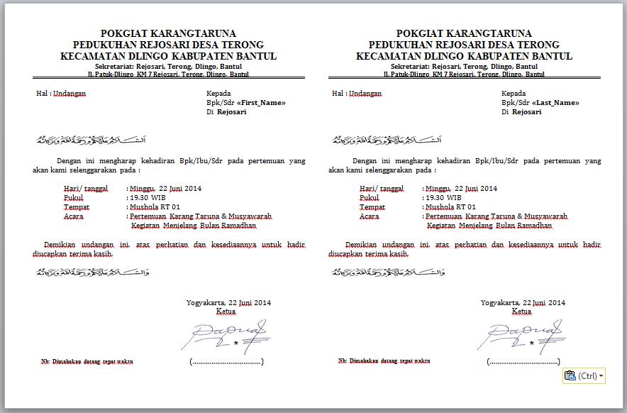 Download Contoh Undangan Maulid Nabi Doc - Contoh Isi Undangan