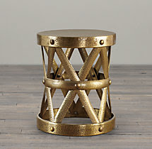 Spanish Colonial Drum Table Antique Brass