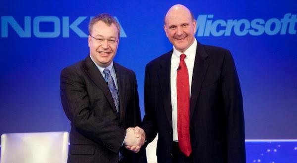 Pimpinan Nokia dan Microsoft setelah melakukan kesepakatan jual beli (foto: lazytechguys)