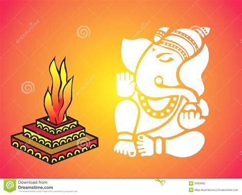 Lord Ganesha near Homa stock vector. Illustration of
