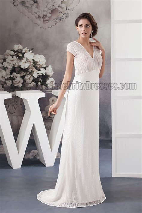 Sweep/Brush Train V Neck Lace Sheath/Column Bridal Gown