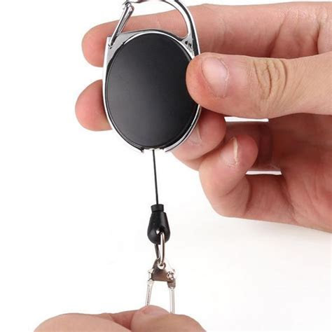 1 Pc Black Keychain Badge Reel Retractable Recoil Ring