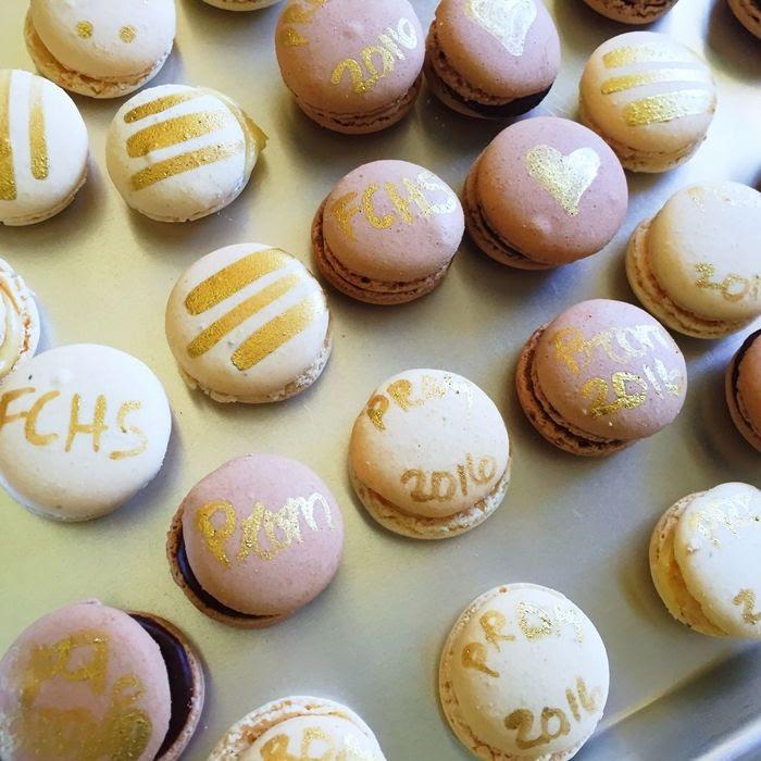 gold-painted Trader Joe's macarons