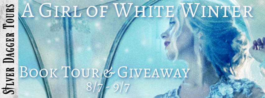 Book Tour Banner for historical romance A Girl of White Winter from the A Dark Glass series by Barb Hendee with a Book Tour Giveaway