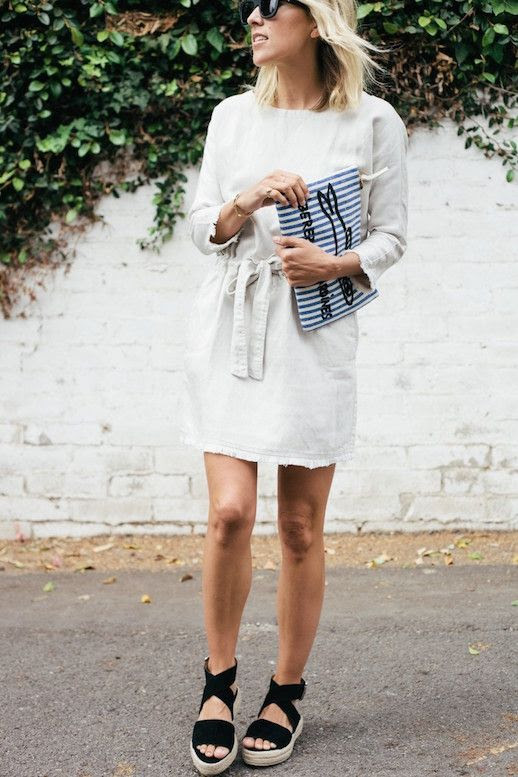 Le Fashion Blog Striped Clutch White Frayed Dress Black Sandals Via Damsel In Dior