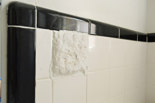 How To Hide Old Cracked Tile With A Built-in Shelf | Young ...