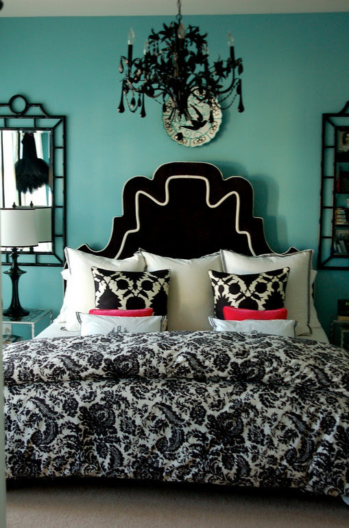 Black and Turquoise Bedroom | Panda's House