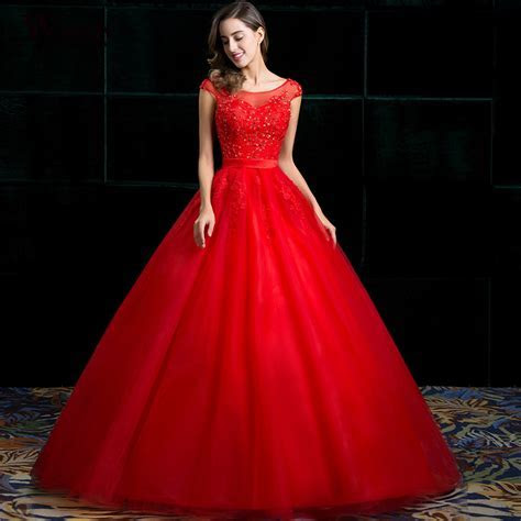 Wintty Wedding Dresses Lace Vintage Plus Size Red Color