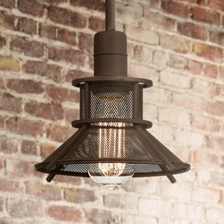 "Industrial Metal 8 1/2"" Wide Bronze Mini Pendant Light"