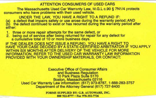 Massachusetts Laws Can Come To The Rescue If You Buy A Lemon The