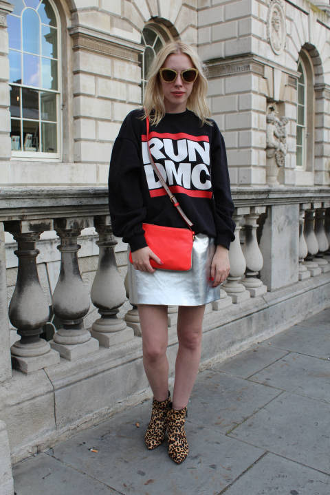 Sarah wears: Sweater: Urban Outfitters, Bag: Marc By Marc Jacobs, Skirt: River Island, Shoes: Nine West, Shades: Miu Miu