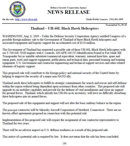 Notification to Congress on the sale of UH-60L Black Hawk to Thailand.