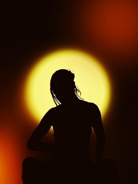 silhouette woman meditation