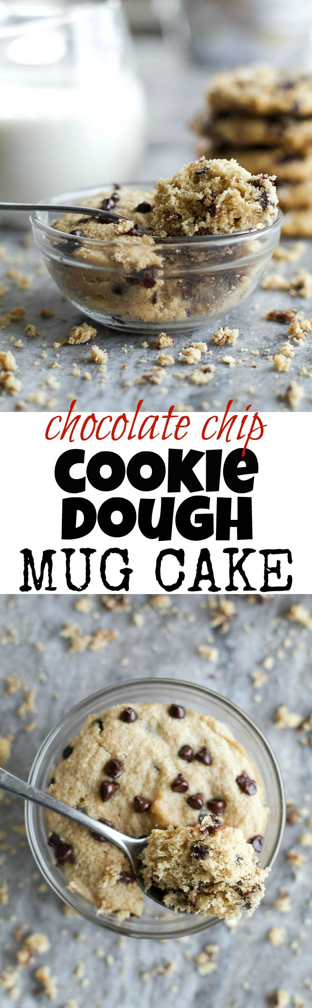 Chocolate Chip Cookie Dough Mug Cake | running with spoons