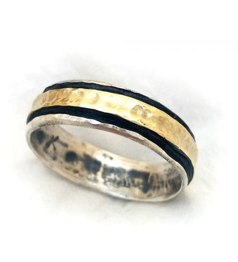 Elegant Men's Ring, Handmade Men's Wedding Band, Oxidized