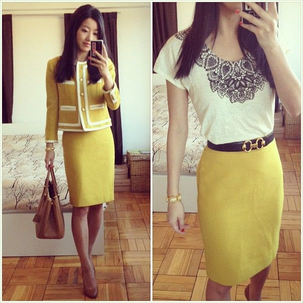 Yellow wool, lace print tee + horsebit buckle belt | Professional Style @ Levo (via Extra Petite Blog)