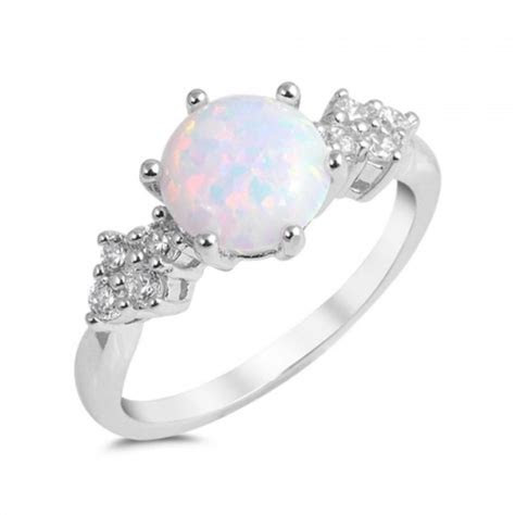 Round Cut White Opal Ring Solid 925 Sterling Silver Lab