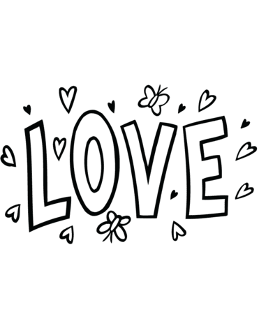 Dibujo De Word Art Amor Para Colorear Dibujos Para Colorear