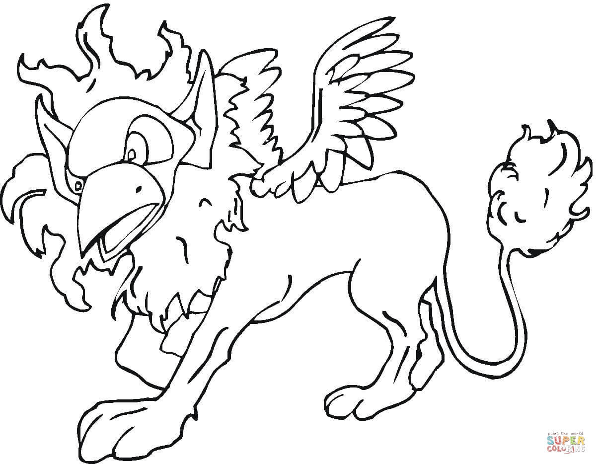 Winged lion coloring page | Free Printable Coloring Pages